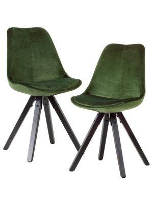 24Designs XAM Stoel - Set van 2 - Groen Fluweel - Zwarte Houten Poten