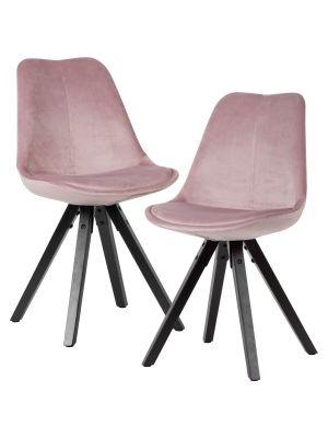 24Designs XAM Stoel - Set van 2 - Roze Fluweel - Zwarte Houten Poten