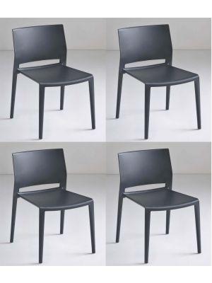 24Designs Active Stapelbare Stoel - Set van 4 - Antraciet Grijs
