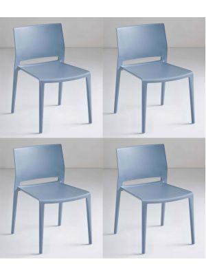 24Designs Active Stapelbare Stoel - Set van 4 - Blauw/Grijs