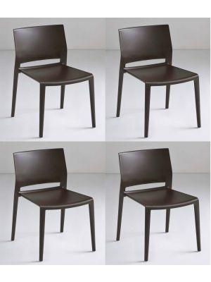 24Designs Active Stapelbare Stoel - Set van 4 - Bruin