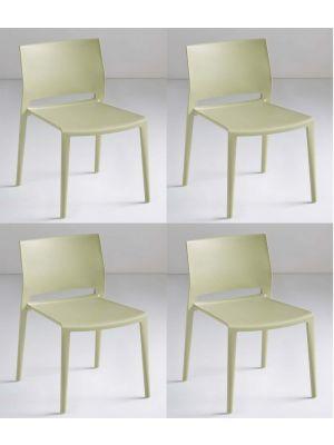 24Designs Active Stapelbare Stoel - Set van 4 - Groen