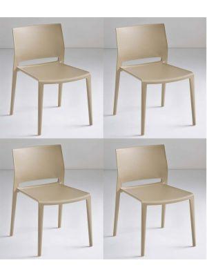 24Designs Active Stapelbare Stoel - Set van 4 - Lichtbruin