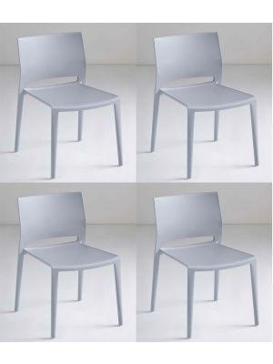 24Designs Active Stapelbare Stoel - Set van 4 - Lichtgrijs