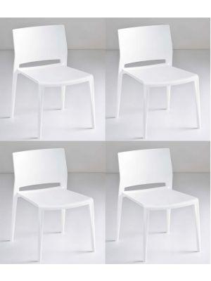 24Designs Active Stapelbare Stoel - Set van 4 - Wit