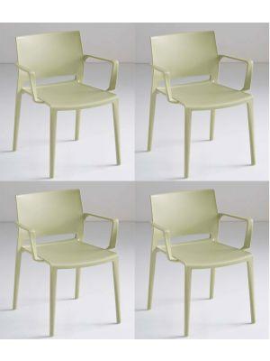 24Designs Active Stapelbare Stoel Armleuningen - Set van 4 - Groen