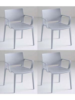 24Designs Active Stapelbare Stoel Armleuningen - Set van 4 - Lichtgrijs