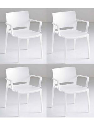 24Designs Active Stapelbare Stoel Armleuningen - Set van 4 - Wit