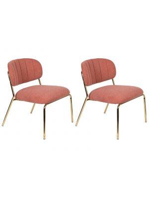 24Designs Arliss Lounge Fauteuil - Set van 2 - Stof Roze - Goudkleurig Metaal