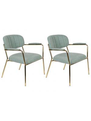 24Designs Arliss Lounge Stoel Armleuningen - Set van 2 - Stof Lichtgroen - Goudkleurig Metaal