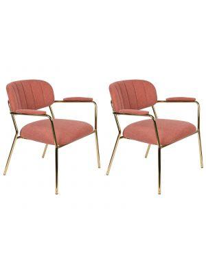 24Designs Arliss Lounge Stoel Armleuningen - Set van 2 - Stof Roze - Goudkleurig Metaal