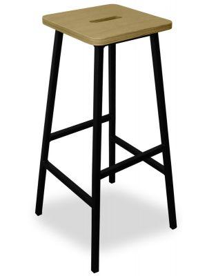 24Designs Bistro Barkruk - Zithoogte 79 cm - Houten Zitting - Mat Zwart Metalen 4-Poots Frame