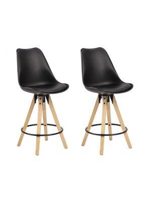 24Designs DEX Barkruk - Set van 2 - Zithoogte 65 cm - Zwarte zitkuip - Houten Poten