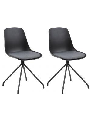 24Designs Jill Stoel - Set van 2 - Zwarte Zitting/Grijs zitkussen - Zwart Onderstel