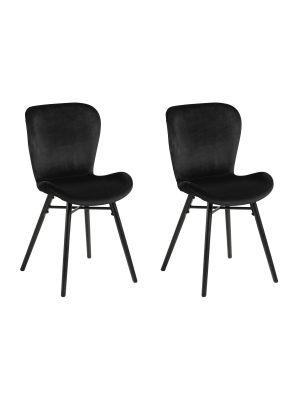 24Designs Karolina Stoel - Set van 2 - Zwart Fluweel - Zwarte Houten Poten