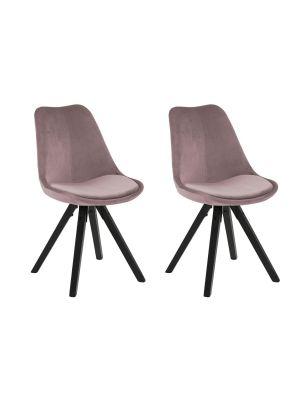 24Designs Set (2) Stoelen DEX - Zitting Poeder Roze Fluweel - Zwarte Houten Poten