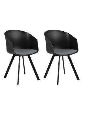 24Designs Jonna Stoel - Set van 2 - Zwart Kunststof/Grijs Zitkussen - Zwarte Metalen Poten