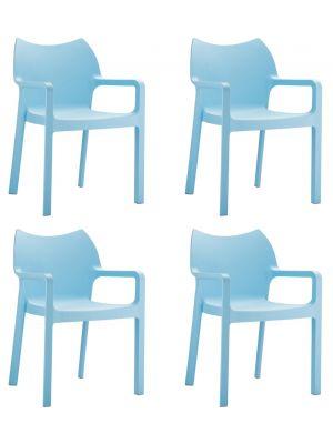 24Designs Set (4) Tuinstoelen Diva Stapelbaar - IJsblauw