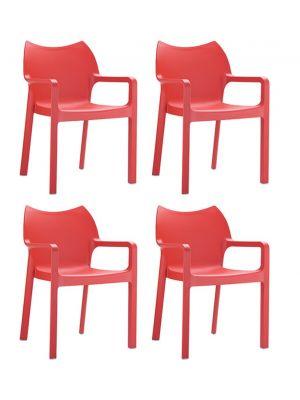 24Designs Set (4) Tuinstoelen Diva Stapelbaar - Rood