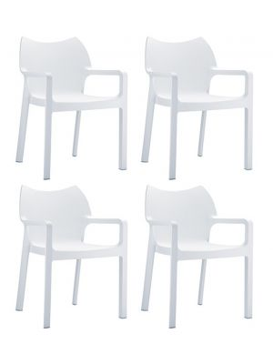 24Designs Set (4) Tuinstoelen Diva Stapelbaar - Wit