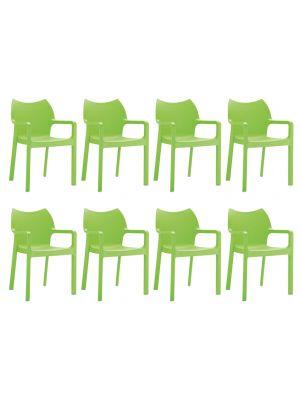 24Designs Set (8) Tuinstoelen Diva Stapelbaar - Groen
