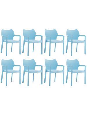 24Designs Set (8) Tuinstoelen Diva Stapelbaar - IJsblauw
