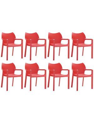 24Designs Set (8) Tuinstoelen Diva Stapelbaar - Rood