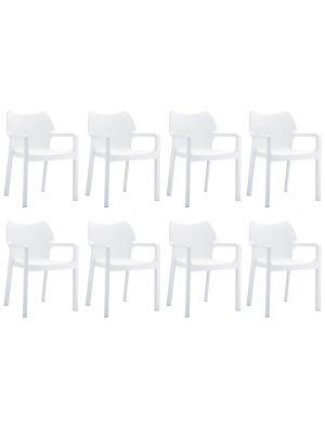 24Designs Set (8) Tuinstoelen Diva Stapelbaar - Wit