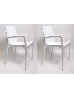 24Designs Stoel Bradford - Set van 2 - Kunststof Hoogglans Wit