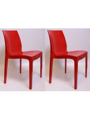 24Designs Stoel York - Set van 2 - Hoogglans Rood Kunststof