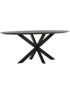 24Designs Timeless Shape Ovale Eettafel L200 x B100 x H78 cm - Zwart Teakhout