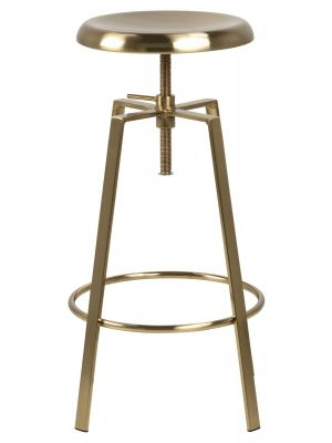 24Designs Halewood Verstelbare Barkruk - Ronde Zitting - Brass Metaal