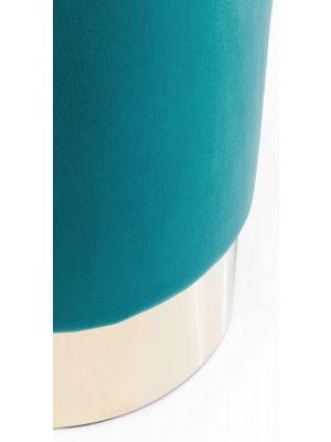 Kare Design - Poef Cherry - Ø35x42 - Teal Fluweel - Messing