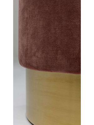Kare Design Cherry Poef - Ø45x48 - Roze Fluweel - Messing
