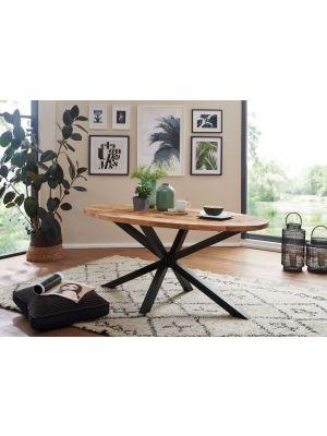 24Designs Sandro Ovale Tafel L175 x B90 x H76 cm - Tafelblad Bruin Mangohout - Zwart Metaal