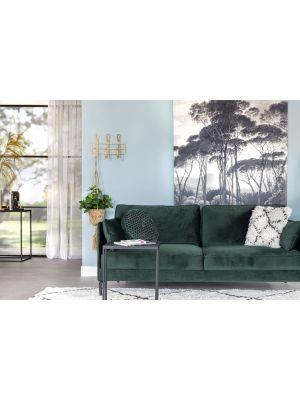 24Designs 3-zits Velvet Bank Positive – Groen Fluweel – Zwart Metalen Poten