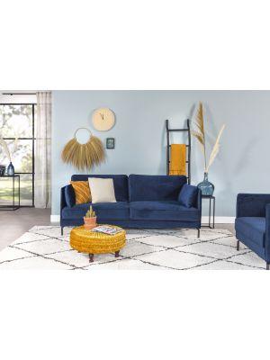 24Designs 3-zits Bank Positive Velvet – Blauw Fluweel – Zwart Metalen Poten