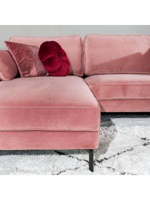 24Designs Positive 3-zits Bank Velvet - Chaise Longue Links - Roze Fluweel