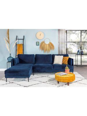24Designs Positive 3-zits Bank Velvet - Chaise Longue Links - Blauw Fluweel