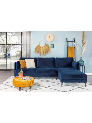 24Designs Positive Velvet Bank - Chaise Longue Rechts - Blauw Fluweel