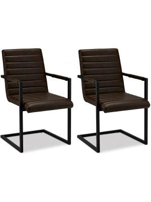 24Designs Fanny stoel - Set van 2 - Zitting Donkerbruin Kunstleer - Zwart Metalen Sledeframe