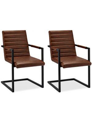 24Designs Fanny stoel - Set van 2 - Lichtbruin Kunstleer - Zwart Metalen Sledeframe