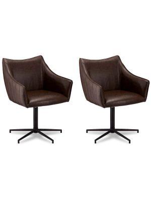 24Designs Alberte stoel - Set van 2 - Kunstleer - Metalen onderstel - Draaibaar - Donkerbruin