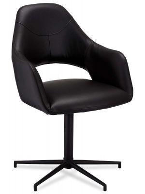 24Designs Luna stoel - Set van 2 - Zitting Kunstleer - Metalen onderstel - Draaibaar - Zwart