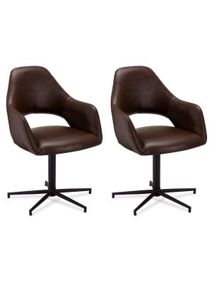 24Designs Luna stoel - Set van 2 - Kunstleer - Metalen onderstel - Draaibaar - Donkerbruin