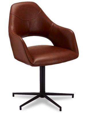 24Designs Luna stoel - Set van 2 - Zitting kunstleer - Metalen onderstel - Draaibaar -Lichtbruin