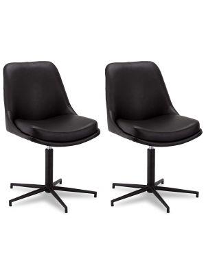 24Designs Claudia stoel - Set van 2 - Kunstleer - Zwart metaal - Draaibaar - Zwart
