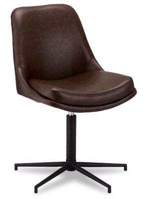 24Designs Claudia stoel - Set van 2 - Kunstleer - Zwart metaal - Draaibaar - Donkerbruin