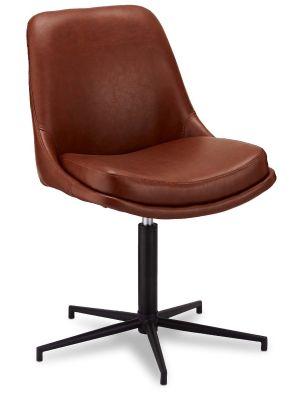 24Designs Claudia stoel - Set van 2 - kunstleer - Zwart metaal - Draaibaar - Bruin