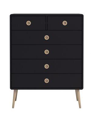 24Designs Softline Ladekast - 6 lades - B81 x H105 cm - Zwart